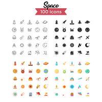 vetor de conjunto de ícones de espaço