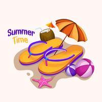 tempo de verão doce chinelo vetor