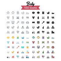 vetor de conjunto de ícones de bebê