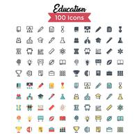 vetor de conjunto de ícones de educação