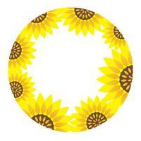 Quadro de girassol circular com espaço de texto.