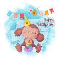Macaco bonito dos desenhos animados com uma pirâmide. Cartão de aniversário. Ilustração vetorial