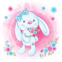 Menina de coelho bonito dos desenhos animados com flores. Ilustração vetorial