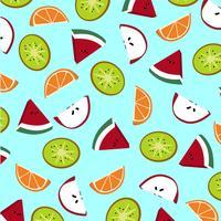 Padrão de fatias de frutas. Kiwi, maçã, melancia e laranja. vetor