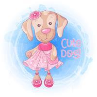 Cachorrinho bonito da menina dos desenhos animados com uma bolsa em um vestido cor-de-rosa. Ilustração vetorial