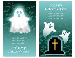 Conjunto de dois modelos de cartão de feliz dia das bruxas com fantasmas. vetor