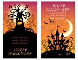 Conjunto de dois modelos de cartão de feliz dia das bruxas com árvores assombradas e uma mansão. vetor