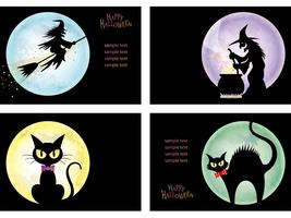 Conjunto de quatro modelos de cartão feliz dia das bruxas com bruxas e gatos pretos. vetor