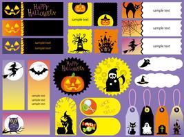 Conjunto de cartões sortidas de feliz dia das bruxas e tags. vetor