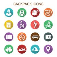 ícones de longa sombra de mochila vetor