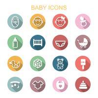 ícones de longa sombra de bebê vetor