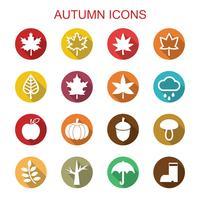 ícones de longa sombra de outono