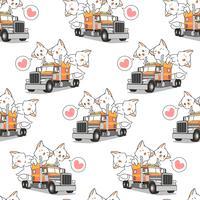 Gatos kawaii sem costura no padrão de caminhão vetor