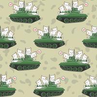 Gatos bonitos sem costura e padrão de tanques de guerra vetor