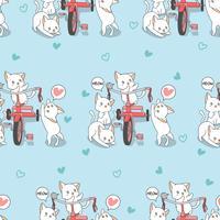 Gatos de kawaii sem costura com padrão de triciclo. vetor