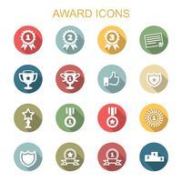 prêmio ícones de sombra longa vetor