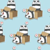 Pandas de kawaii sem costura e padrão de caixa