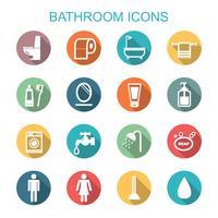 ícones de longa sombra de banheiro