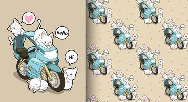 Gatos kawaii sem costura e padrão de motocicleta azul