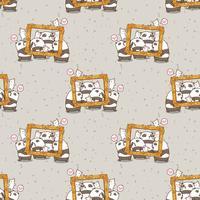 Pandas de kawaii sem costura e gatos com um padrão de quadro de luxo vetor