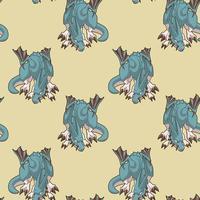 Dragão sem costura personagem no padrão de estilo dos desenhos animados vetor