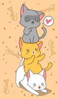 3 gatos pequenos no estilo dos desenhos animados. vetor