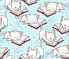 Gato bonito sem costura está lendo um padrão de livro. vetor