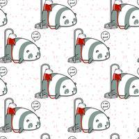 Panda kawaii sem costura é um padrão doente vetor