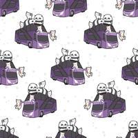 Sem costura kawaii gatos e pandas no padrão de ônibus