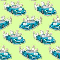 Gatos bonitos sem costura e padrão de carro super azul. vetor