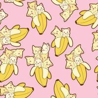 Gatos kawaii sem emenda no padrão de banana. vetor