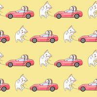 O gato tirado sem emenda do kawaii está transportando um teste padrão cor-de-rosa do carro desportivo. vetor