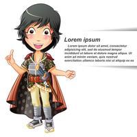 Vector pessoa isolada no terno samurai.
