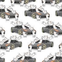 Gatos de kawaii sem costura e padrão de auto carro. vetor