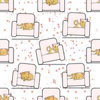 Gato sem emenda está dormindo no padrão de sofá.