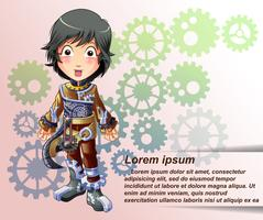 Personagem de steampunk em estilo cartoon.