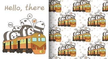 Pandas kawaii sem costura no padrão de trem