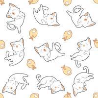 Gato e peixes sem emenda do teste padrão. vetor