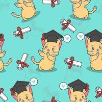 Teste padrão bonito do gato da graduação sem emenda. vetor