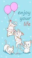 4 gatos de bebê com um balão. vetor