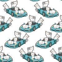 Gatos kawaii sem costura e padrão de carro super azul vetor