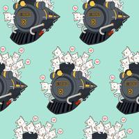 Gatos sem costura kawaii no padrão locomotivo. vetor