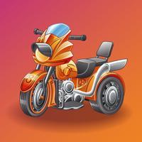 Triciclo de motor do vetor no estilo dos desenhos animados.