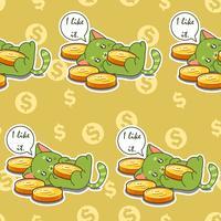 Gato sem emenda gosta de moedas padrão. vetor