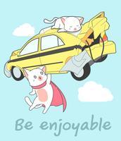 O super gato de Kawaii está levantando o carro no estilo dos desenhos animados. vetor