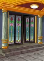 O portão em estilo cartoon.