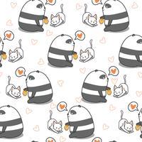 Panda sem costura está alimentando o padrão de gato. vetor