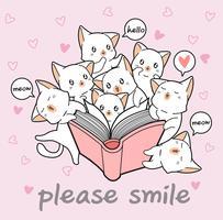 Gatos kawaii estão amando um livro vetor
