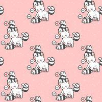 Gato gigante sem costura e padrão de pequenas pandas vetor