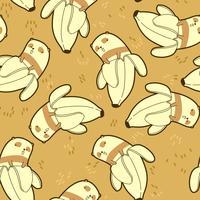 Panda sem emenda no padrão de banana. vetor